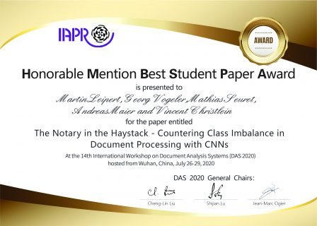 "Towards entry ""Honorable Mention Best Student Paper Award"""