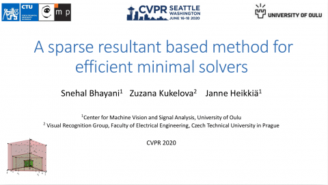 "Towards entry ""[Invited Talk] A Method for Efficient Minimal Solvers – Snehal Bhayani (CVPR 2020)"""